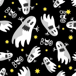 The print with flying ghosts and the inscription is seamless. Vector pattern for holiday day of the dead, Halloween, textiles, background, postcards, invitation, wrapping paper.