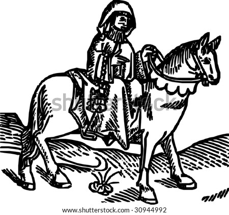 The Prioress woodcut (Geoffrey Chaucer's Canterbury tales, from Caxton's Edition of 1485)  - isolated vector illustration