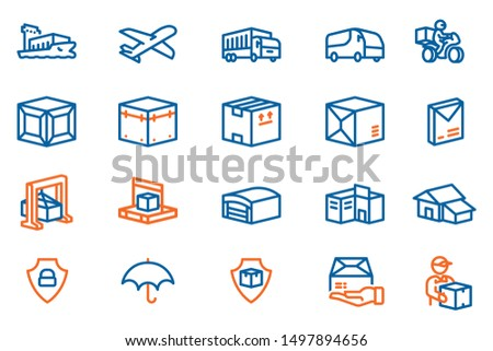 The process Long distance goods delivery to the customer's house.shipping logistics icon concept in hexagon outline style.