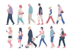 The profile of various people walking down the street. flat design style minimal vector illustration