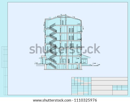 The project of the hotel with apartments and cafes, cross section of the building.Vector Stock photo ©