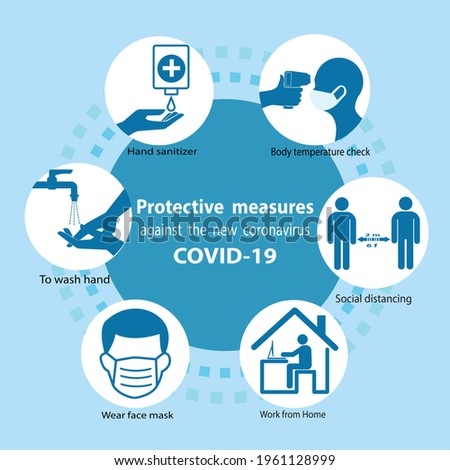 The  Protective measures against the new coronavirus COVID-19. Your practical guidelines for societal habits .To prevent coronavirus spreading. Participate respiratory hygiene and contact medical care Foto d'archivio ©