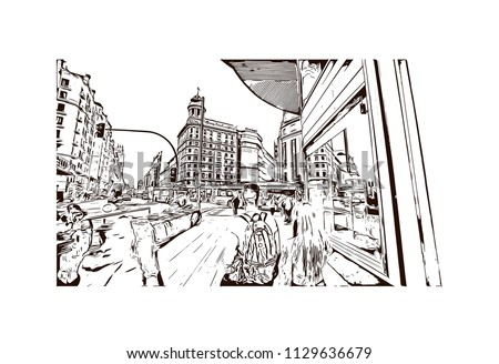 sketch of tower bridge london uk in vector illustration ez canvas Del Sol Spain Map