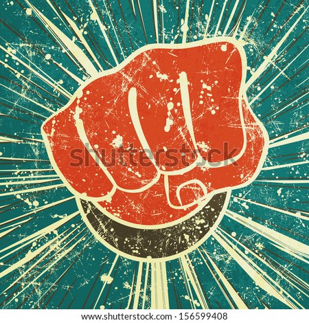 The punch fist of red color on a vintage background in grunge style