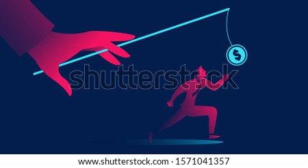 The Pursuit of Money business concept in red and blue neon gradients. Hand with fishing rod and coin Foto stock ©