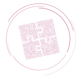 The puzzle symbol filled with pink dots. Pointillism style. Vector illustration on white background