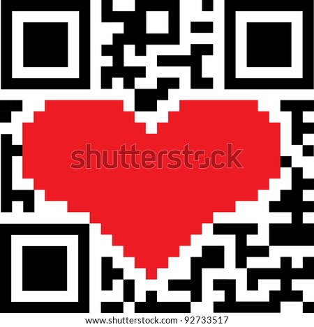 The QR-Code with the coding in the form of heart