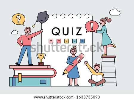 The quiz participants are holding icons. Decoration of huge notebooks and stacked books. Quiz show poster. flat design style minimal vector illustration.