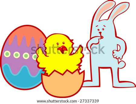 The rabbit looks at a chicken hatching from egg