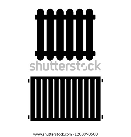 The radiator icon, the logo on a white background