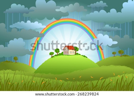 The rainbow protects the small house from a rain and bad weather. conceptual illustration.