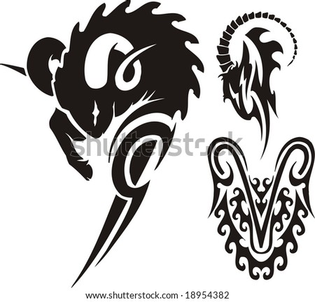 The ram and mountain goat. Tribal clipart. Vector illustration ready for vinyl cutting. - stock vector