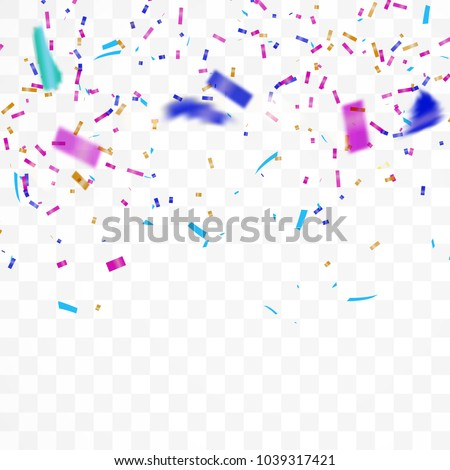 The realistic Falling of  shiny confetti glitters in colorful. New Year, birthday, design element of the Valentine's Day. Holiday design Isolated on a transparent background. Vector Illustration