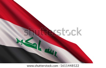 The realistic flag of Iraq isolated on a white background. Vector element for Army Day, Republic Day, National Iraqi Day, Victory over Daesh.