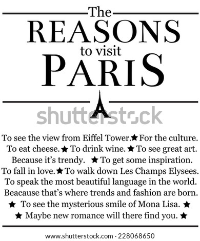 the reasons to visit paris