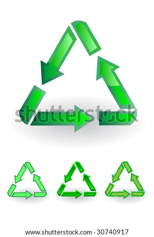 The recycle symbol. A vector. Without mesh.
