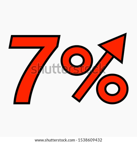 The red figure is 7 percent increase. Price increase icon.  Sales. Profit growth. Increase revolutions. The increase in interest in the bank. Quality improvement. Icon of internet shops. Vector icon.