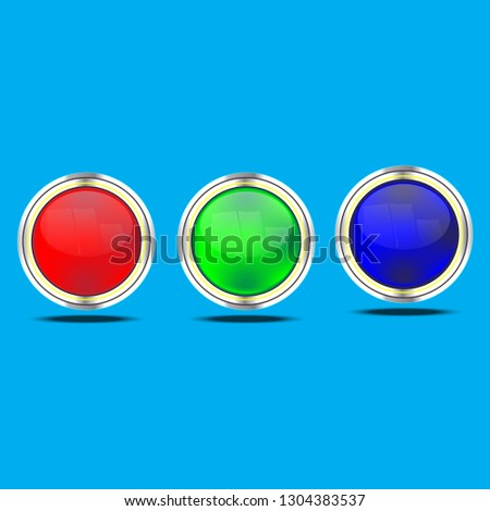 The red, green, blue buttons are shiny, shiny, with metal as a vector design element.