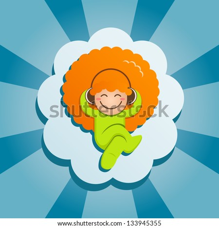 The red-haired guy lies on a cloud and listens to music