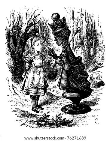 "The Red Queen chastises Alice - Original book engraving. ""Where do you come from?? said the Red Queen. ?And where are you going? Look up, speak nicely, and don?t twiddle your fingers all the time."