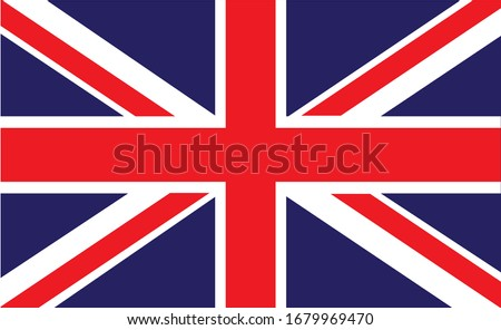 The red, white and blue flag, the flag of the Great Britain