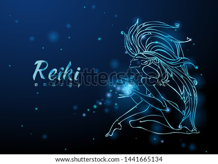 The Reiki Energy. The girl with the flow of energy. Meditation. Alternative medicine. Esoteric. Vector.