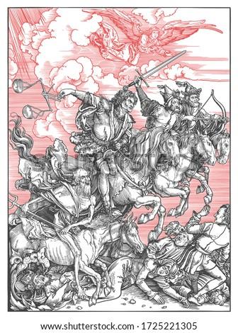 The replica of The four horsemen of the Apocalypse by the German artist Albrecht Durer. Vector Foto stock ©