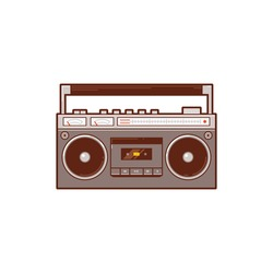The retro cassette radio player. Vector image of a classic boombox.