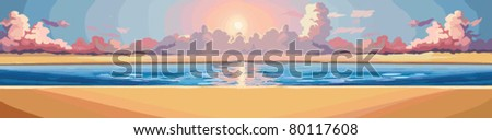 The rising sun over the ocean vector background