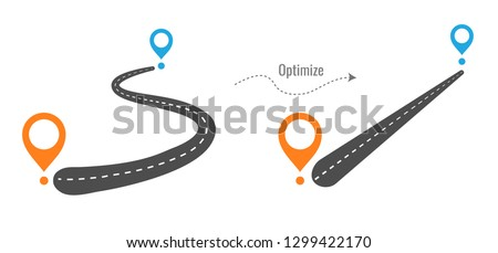 The road from point A to point B. how to lay the optimal and direct way. start and end journey symbol. vector illustration isolated on white background.