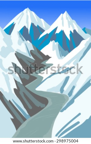 the road into mountains vector