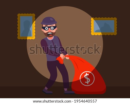 the robber was caught red-handed. the guards detained the burglar of the apartment. robbery of a private house at night. flat vector character illustration. Сток-фото ©