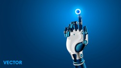 The robot mechanical arm or hand presses the index finger on the button a virtual holographic interface HUD. Artificial Intelligence futuristic design concept.