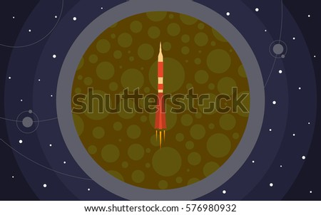 the rocket in space against the
