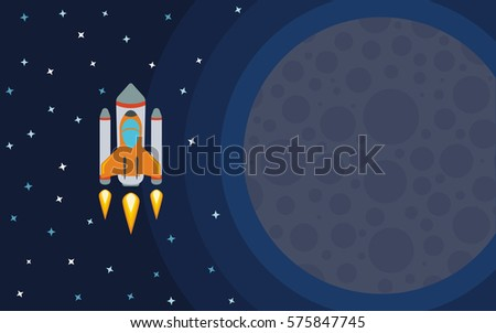 the rocket in space near the