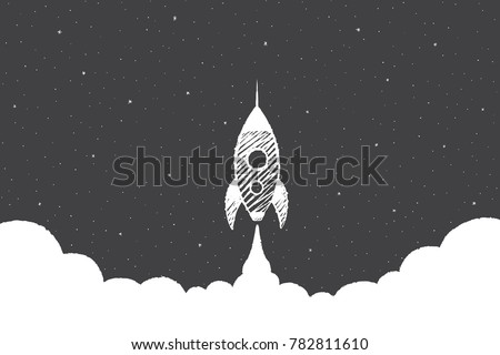 The Rocket starts in outer space. Vector background concept illustration, hand drawn sketch.