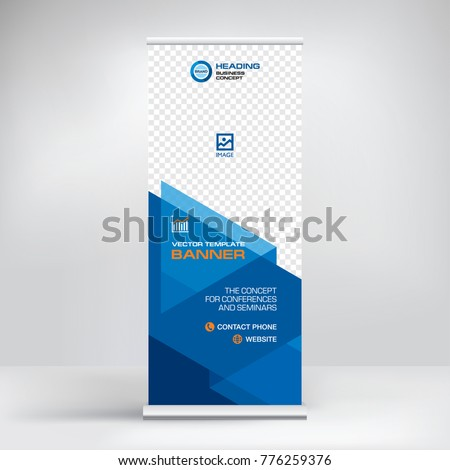 The roll-up banner, modern abstract design for advertising information, photo, text, business concept stand for conference, seminar, stylish background vector