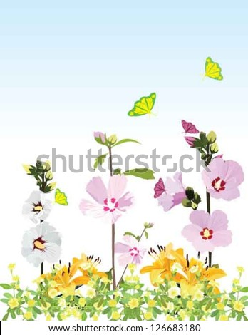 The rose of Sharon which is national flower of Korea with other flowers and butterflies on the garden background