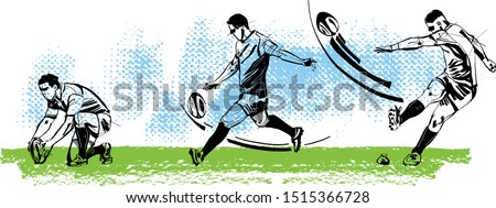 The rugby player kicking the rugby ball