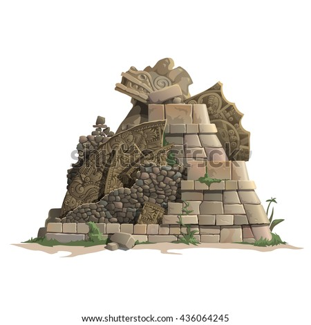 The ruins of a Mayan temple isolated on a white background. Cartoon vector close-up illustration.