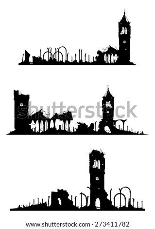 The ruins of churches or castles on a white background. Vector without gradients.