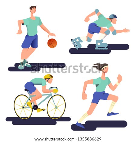 The runner, basketball player, cyclist and roller skater. Sportsman set in flat with gradient design. Can be used for flyer, banner to sporting events, packing for sports goods. Vector illustration.