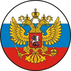 The Russian two-headed eagle against a flag