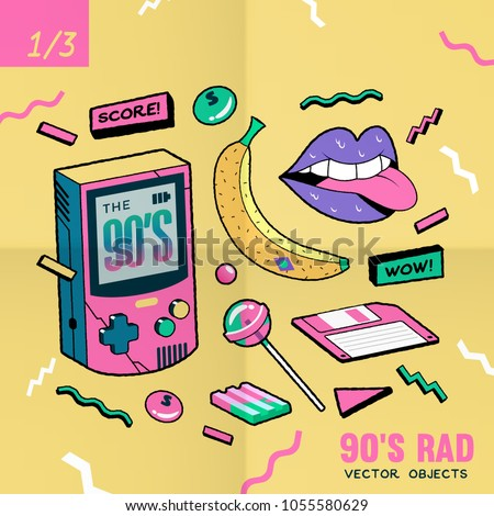 The 90's Rad. 90's style vector isolated objects and graphic elements.