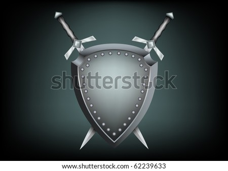 The safety shield and warrior swords on the dark background - stock vector