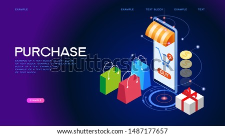The sale and consumer concept. Online shopping with smartphone. E-commerce shoppin. 3d vector isometric illustration.