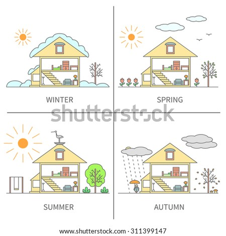 The same landscape scene (house and yard) in different seasons of the year - Winter, Spring, Summer, Autumn (Fall). Set of four coloured vector illustration in linear design on isolated background.