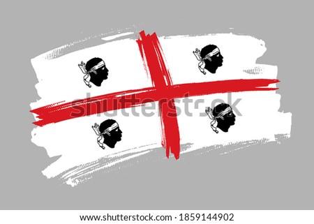 The Sardinia region flag, Italy. Italian  region   banner brush style. Horizontal vector Illustration isolated on white background.   Stockfoto ©