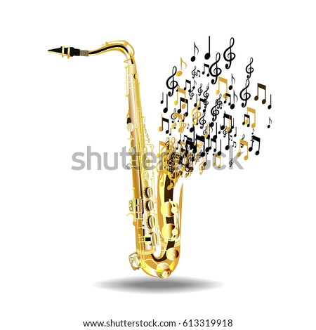 The saxophone breaks into notes, isolated on a white background. Vector illustration.