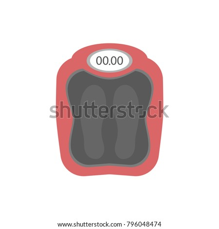 The scales icon for weighing the body. Bathroom scales, weight scale. Vector illustration in a flat style isolated on white background, cartoon design.